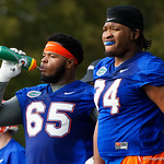 University of Florida Gators offensive lineman Jawaan Taylor and University of Florida Gators offensive lineman Fred Johnson as the Gators run drills during the first day 2018 spring practices at Sanders Field at the Universitu of Florida.  March 16th, 2018.  Gator Country photo by David Bowie.