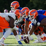 University of Florida Gators offensive lineman T.J. McCoy as the Gators run drills during the first day 2018 spring practices at Sanders Field at the Universitu of Florida.  March 16th, 2018.  Gator Country photo by David Bowie.