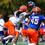 University of Florida Gators defensive back Shawn Davis leaping for an interception as the Gators run drills during the second day of 2018 spring practices at Sanders Field at the University of Florida.  March 17th, 2018.  Gator Country photo by David Bowie.