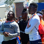 Florida Gator recruits watch on as the Gators run drills during the second day of 2018 spring practices at Sanders Field at the University of Florida.  March 17th, 2018.  Gator Country photo by David Bowie.