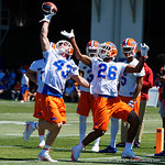 University of Florida Gators athlete Glenn Jarriel breks up a pass during defensive back drills as the Gators run drills during the second day of 2018 spring practices at Sanders Field at the University of Florida.  March 17th, 2018.  Gator Country photo by David Bowie.
