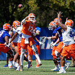 University of Florida Gators quarterback Feleipe Franks throwing downfield as the Gators run drills during the second day of 2018 spring practices at Sanders Field at the University of Florida.  March 17th, 2018.  Gator Country photo by David Bowie.