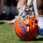 A Florida Gators helmet as the Gators run drills during the second day of 2018 spring practices at Sanders Field at the University of Florida.  March 17th, 2018.  Gator Country photo by David Bowie.
