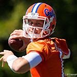 University of Florida Gators quarterback Feleipe Franks throwing as the Gators run drills during the second day of 2018 spring practices at Sanders Field at the University of Florida.  March 17th, 2018.  Gator Country photo by David Bowie.