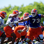 University of Florida Gators offensive lineman Martez Ivey blocking as the Gators run drills during the second day of 2018 spring practices at Sanders Field at the University of Florida.  March 17th, 2018.  Gator Country photo by David Bowie.