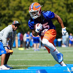University of Florida Gators running back Jordan Scarlett as the Gators run drills during the second day of 2018 spring practices at Sanders Field at the University of Florida.  March 17th, 2018.  Gator Country photo by David Bowie.