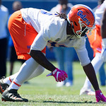 University of Florida Gators defensive lineman Jachai Polite gets set as the Gators run drills during the second day of 2018 spring practices at Sanders Field at the University of Florida.  March 17th, 2018.  Gator Country photo by David Bowie.