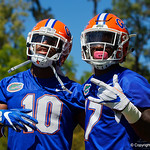 University of Florida Gators wide receiver Josh Hammond and University of Florida Gators athlete Kadarius Toney having fun as the Gators run drills during the second day of 2018 spring practices at Sanders Field at the University of Florida.  March 17th, 2018.  Gator Country photo by David Bowie.