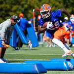 University of Florida Gators running back Dameon Pierce as the Gators run drills during the second day of 2018 spring practices at Sanders Field at the University of Florida.  March 17th, 2018.  Gator Country photo by David Bowie.