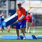 University of Florida Gators Head Coach Dan Mullen as the Gators run drills during the second day of 2018 spring practices at Sanders Field at the University of Florida.  March 17th, 2018.  Gator Country photo by David Bowie.