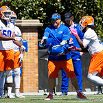 University of Florida Gators Defensive Coordinator Todd Grantham working with the defensive ends and linebackers as the Gators run drills during the second day of 2018 spring practices at Sanders Field at the University of Florida.  March 17th, 2018.  Gator Country photo by David Bowie.