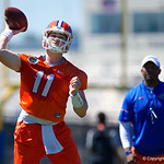 University of Florida Gators quarterback Kyle Trask as the Gators run drills during the second day of 2018 spring practices at Sanders Field at the University of Florida.  March 17th, 2018.  Gator Country photo by David Bowie.