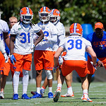 University of Florida Gators safties coach Ron English working with the safeties as the Gators run drills during the second day of 2018 spring practices at Sanders Field at the University of Florida.  March 17th, 2018.  Gator Country photo by David Bowie.