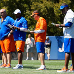 University of Florida Gators Head Coach Dan Mullen and the offensive coaches watch on as the Gators run drills during the second day of 2018 spring practices at Sanders Field at the University of Florida.  March 17th, 2018.  Gator Country photo by David Bowie.