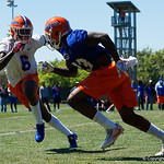 University of Florida Gators defensive back Brian Edwards defending University of Florida Gators wide receiver Rick Wells as the Gators run drills during the second day of 2018 spring practices at Sanders Field at the University of Florida.  March 17th, 2018.  Gator Country photo by David Bowie.
