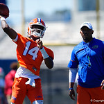 University of Florida Gators quarterback Emory Jones as the Gators run drills during the second day of 2018 spring practices at Sanders Field at the University of Florida.  March 17th, 2018.  Gator Country photo by David Bowie.
