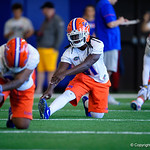 University of Florida Gators defensive back Shawn Davis stretching as the Gators run drills during the second day of 2018 spring practices at Sanders Field at the University of Florida.  March 17th, 2018.  Gator Country photo by David Bowie.