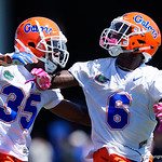 University of Florida Gators defensive back Trey Dean III and University of Florida Gators defensive back Brian Edwards as the Gators run drills during the second day of 2018 spring practices at Sanders Field at the University of Florida.  March 17th, 2018.  Gator Country photo by David Bowie.