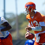 University of Florida Gators quarterback Feleipe Franks svrambles downfield as the Gators run drills during the second day of 2018 spring practices at Sanders Field at the University of Florida.  March 17th, 2018.  Gator Country photo by David Bowie.