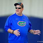 University of Florida Gators Defensive Line coach Sal Sunseri as the Gators run drills during the second day of 2018 spring practices at Sanders Field at the University of Florida.  March 17th, 2018.  Gator Country photo by David Bowie.