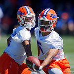 University of Florida Gators defensive back Marco Wilson and University of Florida Gators defensive back CJ Henderson working against each other as the Gators run drills during the second day of 2018 spring practices at Sanders Field at the University of Florida.  March 17th, 2018.  Gator Country photo by David Bowie.