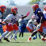 University of Florida Gators defensive lineman Jachai Polite as the Gators run drills during the second day of 2018 spring practices at Sanders Field at the University of Florida.  March 17th, 2018.  Gator Country photo by David Bowie. trying to evade a block