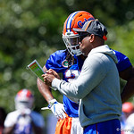 University of Florida Gators running backs coach Greg Knox coaching up University of Florida Gators running back Jordan Scarlett as the Gators run drills during the second day of 2018 spring practices at Sanders Field at the University of Florida.  March 17th, 2018.  Gator Country photo by David Bowie.