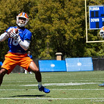 University of Florida Gators wide receiver Daquon Green making a catch as the Gators run drills during the second day of 2018 spring practices at Sanders Field at the University of Florida.  March 17th, 2018.  Gator Country photo by David Bowie.