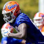 University of Florida Gators tight end C'yontai Lewis as the Gators run drills during the second day of 2018 spring practices at Sanders Field at the University of Florida.  March 17th, 2018.  Gator Country photo by David Bowie.