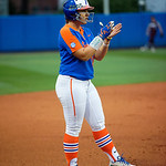 University of Florida Gators Softball outifelder Amanda Lorenz cheering on the batter from third base as the Gators defeat the #8 Texas A&M Aggies 7-3 to complete the sweep at Katie Seashole Pressly Softball Stadium in Gainesville, Florida.  March 26th, 2018. Gator Country photo by David Bowie.