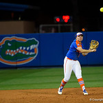University of Florida Gators Softball infielder Sophia Reynoso fields a ground ball and throws to first base for the out. as the Gators defeat the #8 Texas A&M Aggies 7-3 to complete the sweep at Katie Seashole Pressly Softball Stadium in Gainesville, Florida.  March 26th, 2018. Gator Country photo by David Bowie.