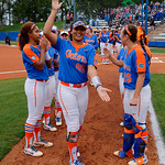University of Florida Gators Softball infielder Jordan Matthews gator chomps to the crowd during player introductions as the Gators defeat the #8 Texas A&M Aggies 7-3 to complete the sweep at Katie Seashole Pressly Softball Stadium in Gainesville, Florida.  March 26th, 2018. Gator Country photo by David Bowie.