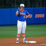 University of Florida Gators Softball outifelder Amanda Lorenz gives a thumbs up toi the Gators dugout as the Gators defeat the #8 Texas A&M Aggies 7-3 to complete the sweep at Katie Seashole Pressly Softball Stadium in Gainesville, Florida.  March 26th, 2018. Gator Country photo by David Bowie.