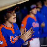 University of Florida Gators Softball outifelder Haven Sampson cheering on from the dugout as the Gators defeat the #8 Texas A&M Aggies 7-3 to complete the sweep at Katie Seashole Pressly Softball Stadium in Gainesville, Florida.  March 26th, 2018. Gator Country photo by David Bowie.