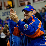 A Gators fan cheer on as the Gators defeat the #8 Texas A&M Aggies 7-3 to complete the sweep at Katie Seashole Pressly Softball Stadium in Gainesville, Florida.  March 26th, 2018. Gator Country photo by David Bowie.