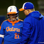 -21 getting coached up by University of Florida Gators Softball head coach Tim Waltonas the Gators defeat the #8 Texas A&M Aggies 7-3 to complete the sweep at Katie Seashole Pressly Softball Stadium in Gainesville, Florida.  March 26th, 2018. Gator Country photo by David Bowie.
