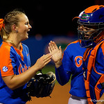 University of Florida Gators Softball pitcher Kelly Barnhill pgets a high five as the Gators defeat the #8 Texas A&M Aggies 7-3 to complete the sweep at Katie Seashole Pressly Softball Stadium in Gainesville, Florida.  March 26th, 2018. Gator Country photo by David Bowie.