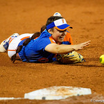 University of Florida Gators Softball infielder Sophia Reynoso smiles as she scrambles for a ground ball as the Gators defeat the #8 Texas A&M Aggies 7-3 to complete the sweep at Katie Seashole Pressly Softball Stadium in Gainesville, Florida.  March 26th, 2018. Gator Country photo by David Bowie.