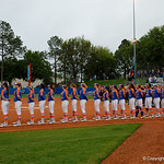 The Florida Gators during the national anthem as the Gators defeat the #8 Texas A&M Aggies 7-3 to complete the sweep at Katie Seashole Pressly Softball Stadium in Gainesville, Florida.  March 26th, 2018. Gator Country photo by David Bowie.