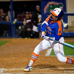 University of Florida Gators Softball first baseman Kayli Kvistad swinging away as the Gators defeat the #8 Texas A&M Aggies 7-3 to complete the sweep at Katie Seashole Pressly Softball Stadium in Gainesville, Florida.  March 26th, 2018. Gator Country photo by David Bowie.