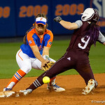 University of Florida Gators Softball infielder Hannah Adams tries to tag out a Texas A7M runner but the ball is to late, as the Gators defeat the #8 Texas A&M Aggies 7-3 to complete the sweep at Katie Seashole Pressly Softball Stadium in Gainesville, Florida.  March 26th, 2018. Gator Country photo by David Bowie.