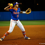 University of Florida Gators Softball infielder Nicole DeWitt fields a gorund ball and thrwos to first base for the final out of the game, as the Gators defeat the #8 Texas A&M Aggies 7-3 to complete the sweep at Katie Seashole Pressly Softball Stadium in Gainesville, Florida.  March 26th, 2018. Gator Country photo by David Bowie.