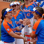 University of Florida Gators Softball infielder Sophia Reynoso and University of Florida Gators Softball infielder Hannah Adams during player introducitons as the Gators defeat the #8 Texas A&M Aggies 7-3 to complete the sweep at Katie Seashole Pressly Softball Stadium in Gainesville, Florida.  March 26th, 2018. Gator Country photo by David Bowie.