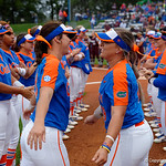 University of Florida Gators Softball outifelder Amanda Lorenz and University of Florida Gators Softball infielder Nicole DeWitt during player introductions as the Gators defeat the #8 Texas A&M Aggies 7-3 to complete the sweep at Katie Seashole Pressly Softball Stadium in Gainesville, Florida.  March 26th, 2018. Gator Country photo by David Bowie.