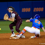 University of Florida Gators Softball infielder Nicole DeWitt slides into second base and beats the throw as the Gators defeat the #8 Texas A&M Aggies 7-3 to complete the sweep at Katie Seashole Pressly Softball Stadium in Gainesville, Florida.  March 26th, 2018. Gator Country photo by David Bowie.