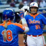 University of Florida Gators Softball infielder Jordan Matthews gets a high five from University of Florida Gators Softball outifelder Amanda Lorenz as the Gators defeat the #8 Texas A&M Aggies 7-3 to complete the sweep at Katie Seashole Pressly Softball Stadium in Gainesville, Florida.  March 26th, 2018. Gator Country photo by David Bowie.