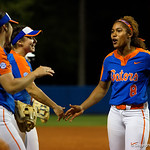 University of Florida Gators Softball pitcher Aleshia Ocasio celebratesas the Gators defeat the #8 Texas A&M Aggies 7-3 to complete the sweep at Katie Seashole Pressly Softball Stadium in Gainesville, Florida.  March 26th, 2018. Gator Country photo by David Bowie.