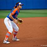 University of Florida Gators Softball infielder Nicole DeWitt gets set at third base as the Gators defeat the #8 Texas A&M Aggies 7-3 to complete the sweep at Katie Seashole Pressly Softball Stadium in Gainesville, Florida.  March 26th, 2018. Gator Country photo by David Bowie.
