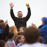A Gators fan celebrates as he catches a fly ball as the Gators defeat the #8 Texas A&M Aggies 7-3 to complete the sweep at Katie Seashole Pressly Softball Stadium in Gainesville, Florida.  March 26th, 2018. Gator Country photo by David Bowie.