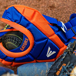 University of Florida Gators Softball C/1B Janell Wheaton's cathers gear as the Gators defeat the #8 Texas A&M Aggies 7-3 to complete the sweep at Katie Seashole Pressly Softball Stadium in Gainesville, Florida.  March 26th, 2018. Gator Country photo by David Bowie.